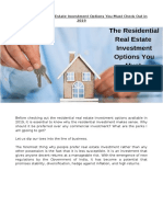 The Residential Real Estate Investment Options You Must Check Out in 2019