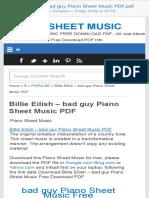 Billie Eilish – Bad Guy Piano Sheet Music PDF