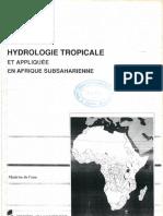 Hydrologie Tropicale Et Appliquée en Afrique Subsaharienne