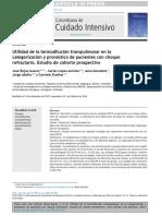 Utilidad de la termodilución transpulmonar en lacategorización y pronóstico de pacientes con choque refractario. Estudio de cohorte prospectivo