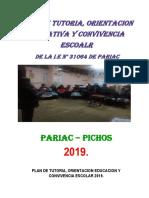 Plan Preliminar de Tutoría 2019