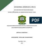 Evaluación de Riesgo de Inundación (modelación HEC-RAS) usando la metodología CENEPRED
