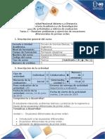 Guia de Actividades y Rubrica de Evaluacion -Tarea 1 - Resolver Ejercicios y Problemas Ecuaciones Diferenciales de Primer Orden
