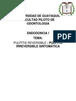 Pulpitis Reversible y Sintomática