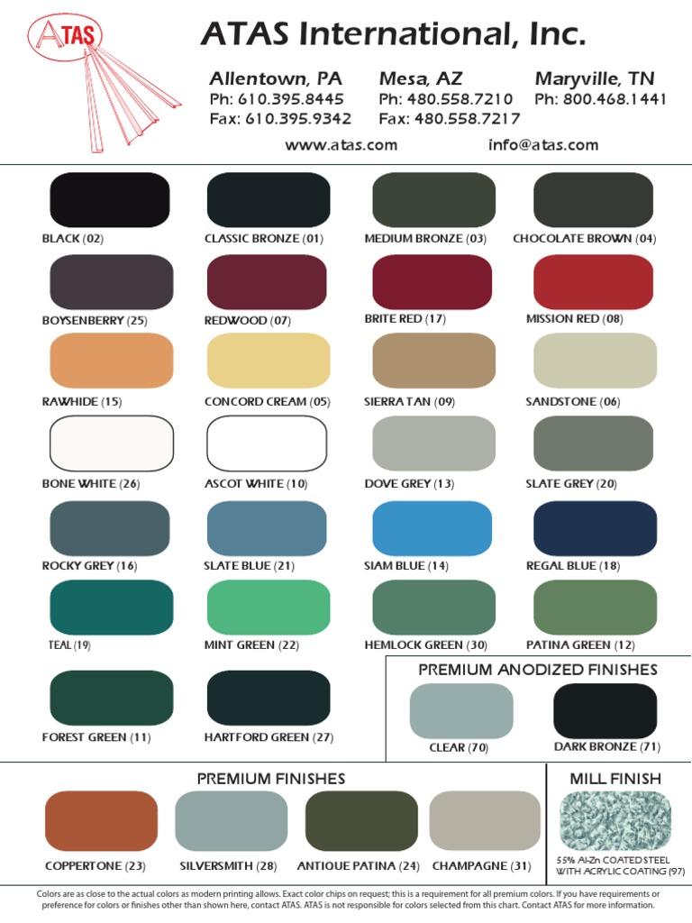 Atas Color Chart Industrial Processes Materials