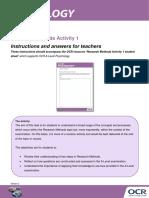 Research Methods Activity 1 Teacher Instructions