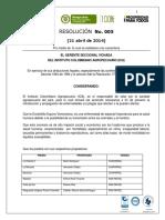 Resolucion 005 de Abril 21 de 2014