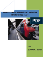 Mandatory Question and Answers for running staff