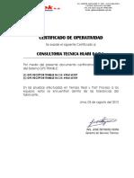 Certificado de Operatividad Consultora Tecnica Huari