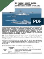 Notification Indian Coast Guard Navik GD 102 Entry 01 2020