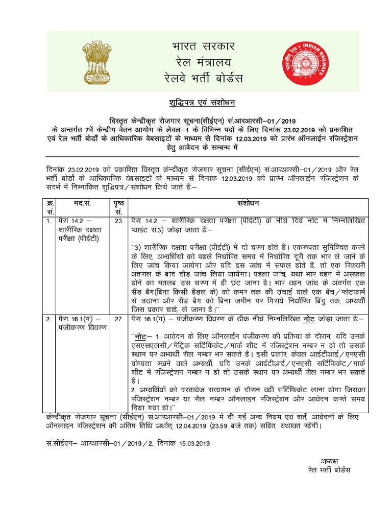 Employment Notice rrc