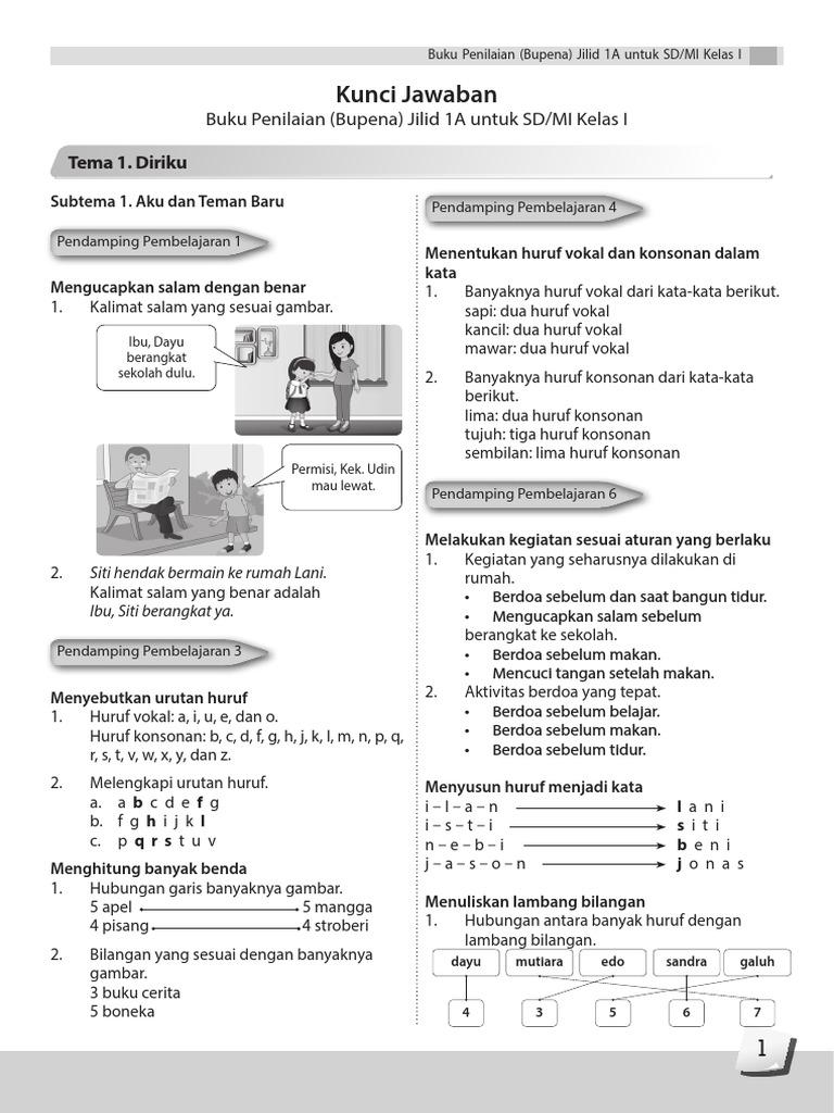 Kunci Jawaban Bupena 1a K13 Revisi
