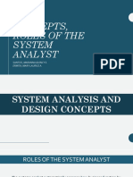 Sa&d Concepts, Roles of the System Analyst Final