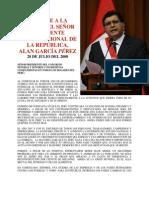 MENSAJE A LA NACIÓN DEL SEÑOR PRESIDENTE CONSTITUCIONAL DE LA REPÚBLICA