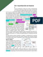 FORMACION Y MANTENCION DE TEJIDOS