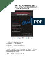 Programa Coloquio Literatura Francfona
