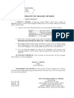 Affidavit of Change Body- Corpuz