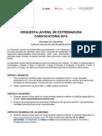 Convocatoria 2019 Orquesta Juvenil de Extremadura