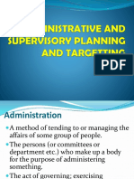 Administrative and Supervisory Planning and Targetting
