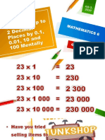Multiplying Decimals Up to 2 Decimal Places by 0.1, 0.01, 10 and 100 Mentally