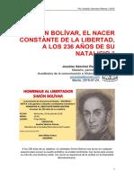 Simón Bolívar, el nacer constante de la libertad