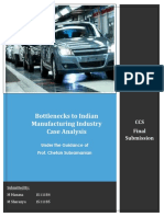 Indian manufacturing sector bottlenecks for value chain