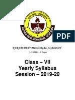 Class VII Annual Syllabus 2019 20