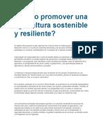 Cómo Promover Una Agricultura Sostenible y Resiliente