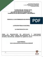 Convocatoria La-050gyr034-e134-2019 Articulos y Uniformes Deportivos
