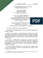 Kramer v. City of Lake Oswego, No. CV12100913 (Or. Aug. 1, 2019)