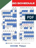 2020 Minnesota Twins Printable Schedule