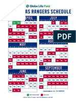 Texas Rangers 2020 Schedule