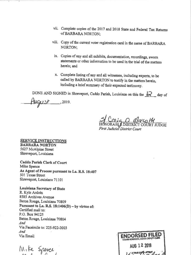 Tarver's legal challenge of Norton's legal residency