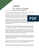 Articulo La Seguridad y Salud en El Trabajo Esencial Para Un Pais Moderno