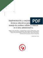 Implementacion y concientizacion de tecnicas educativas para el buen manejo y uso de los residuos sólidos y canecas en el área administrativa.