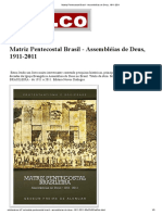 Matriz Pentecostal Brasil - Assembléias de Deus, 1911-2011