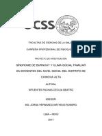 Sindrome de Burnout y Clima Social Familiar en Docentes Del Nivel Inicial Del Distrito de Chincha Alta