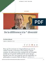 """De la différence à la """" diversité """" _ Valeurs actuelles"""
