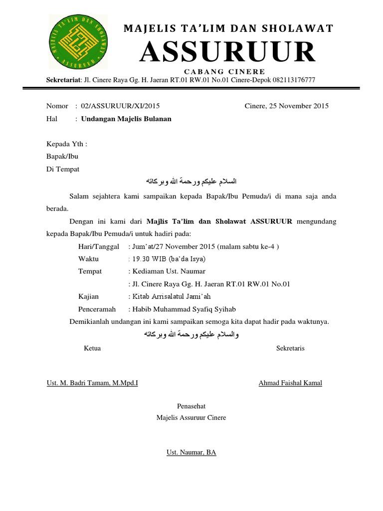 Contoh Undangan Majelis Ta Lim