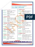 12th AUGUST Daily Vocabulary (2019)