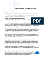 Customer Needs Assessment Survey Design & Analysis