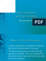 Revision Thesis Statement and Topic Sentence