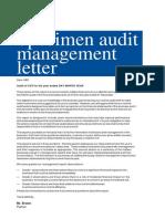 21 Specimen Audit Management Letter
