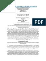 Memorandum for theProsecution
