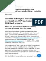 B2B Startup Digital Marketing Plan Workbook and Case Study Smart Insights