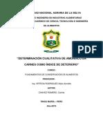 Determinacion Cualitativa de Amoniaco en Carnes Como Indice de Deterioro