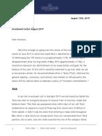 Corona Associates Capital Management, LLC - August 2019 Investment Letter