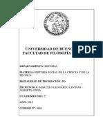 Historia Social de La Ciencia y La Técnica (Levinas-Onna) - 2c 2019
