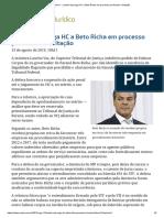 ConJur - Laurita Vaz Nega HC a Beto Richa Em Processo Por Fraude a Licitação