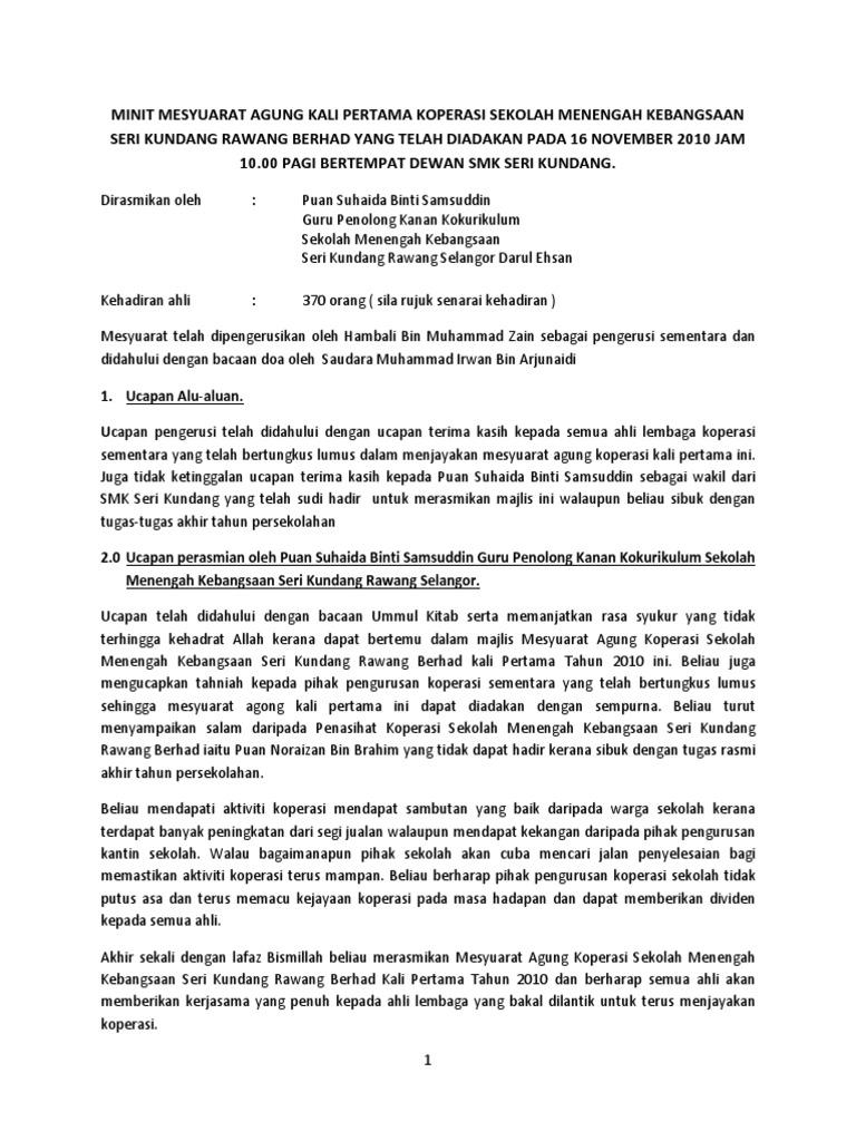 Minit Mesyuarat Agung Kali Pertama Koperasi Sekolah Menengah Kebangsaan Seri Kundang Rawang Berhad Yang Telah Diadakan Pada 16 November 2010 Jam 10 00 Pagi Bertempat Dewan Smk Seri Kundang
